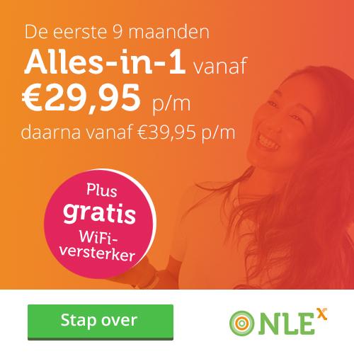 """Bij NLE """"alles-in-1""""ontvang je nu een gratis Wifi versterker en betaal je slechts € 29.95 per maand."""