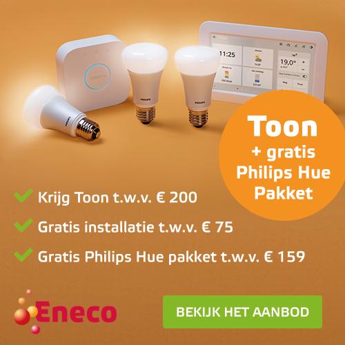 Eneco Toon geeft een welkomstcadeau weg bij een 4-jarige abonnement. Stap over en ontvang een gratis Toon t.w.v. € 200,-, gratis installatie en gratis Philips Hue pakket t.w.v. € 160,-.