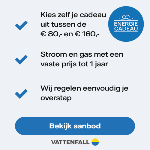 Profiteer van dezeNuon aanbieding. Stap over en ontvang een Gratis energiecadeau t.w.v. € 149,95. Sluit voor 1 jaar een abonnement pak voordelige energie.