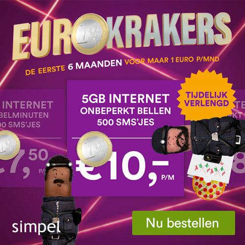 Simpel Sim only Eurokrakers voor euro per maand