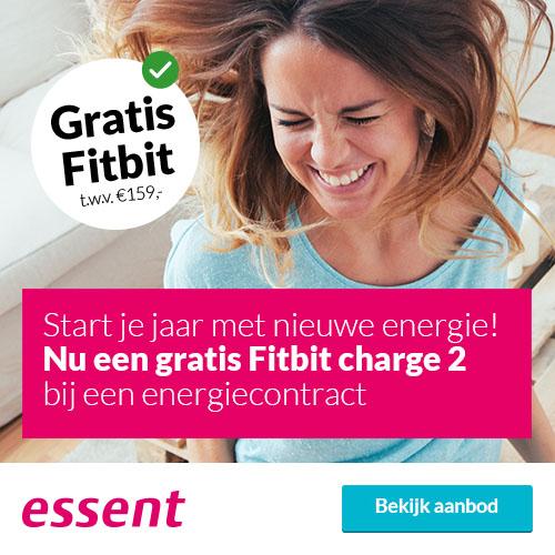 Wil je 2018 gezond starten? Ontvang dan een Essent Fitbit Charge t.w.v. 159 euro cadeau. Neem een goedkoop 1-jarige energiecontract van Essent.