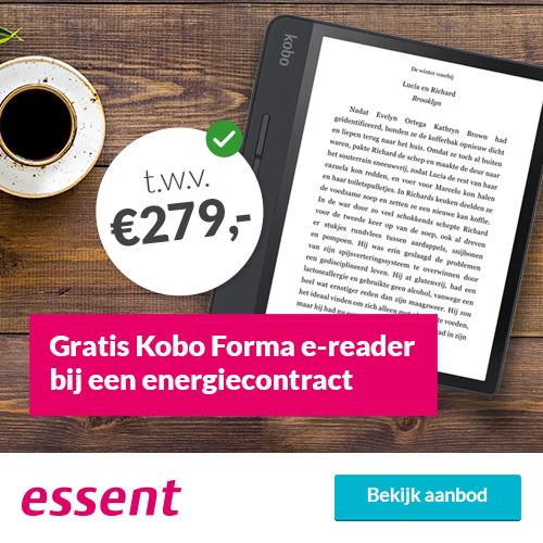 Ontvang gratis een Essent Kobo Forma e-reader cadeau t.w.v. 279 euro cadeau bij een goedkoop 3-jarig energiecontract van Essent.